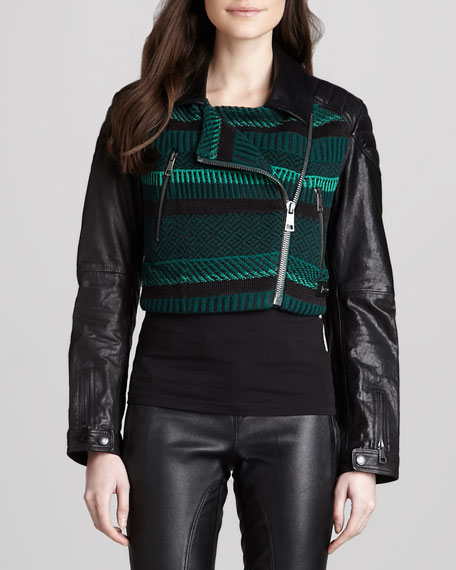 f3e5447b24d1ce Burberry Brit Knit Moto Jacket with Leather Sleeves