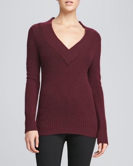 1c4777bb714 Cashmere V-Neck Ribbed Sweater Deep Burgundy