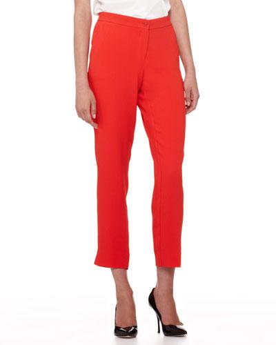 Cady Straight-Leg Capri Pants, Bright Coral