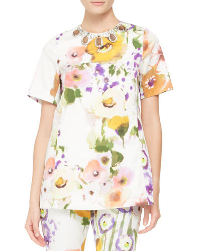 Embellished-Neck Floral Tunic