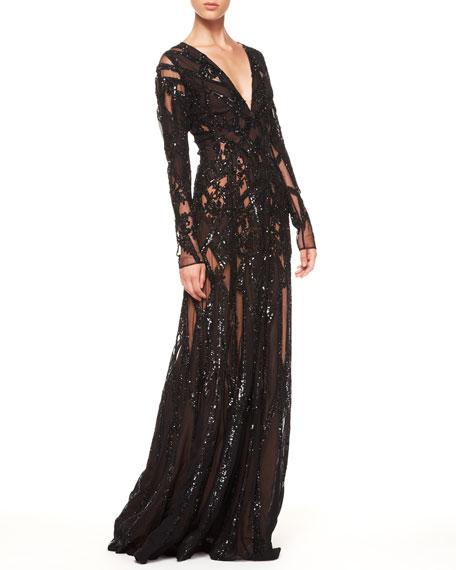 2590939e Elie Saab Sheer Sequin Gown, Black