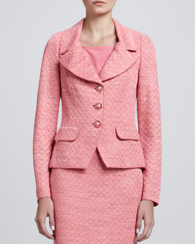 Space-Dyed Damier Fitted Jacket, Flamingo Pink