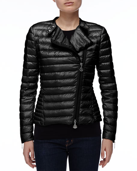 Asymmetric-Zip Puffer Jacket, Black