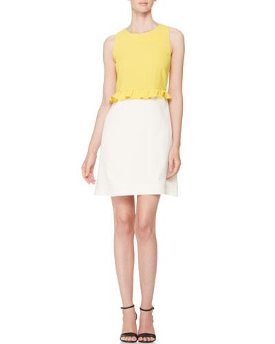 Bicolor Tank Dress, Yellow/White