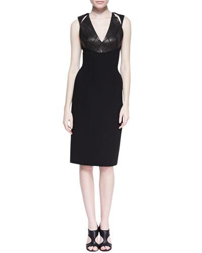 Sleeveless Cutout Shoulder Dress, Black