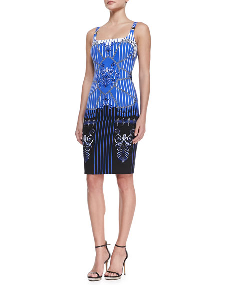 Striped Baroque Print Ballerina Sheath Dress Blue Black