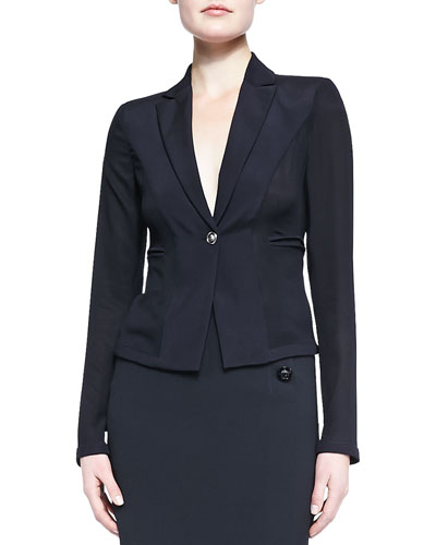 Fitted One-Button Blazer, Black