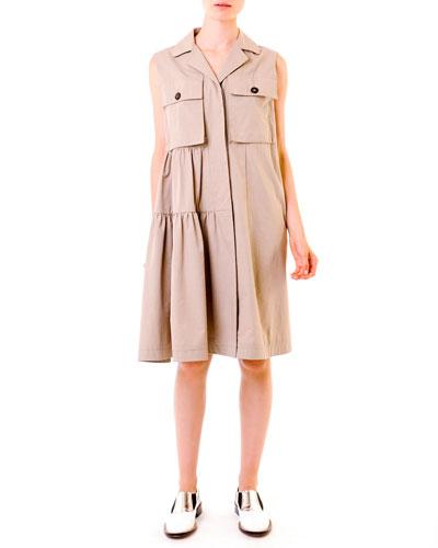 Compact Cotton Safari Shirtdress, Khaki