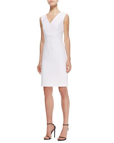 V-Neck Straight Stretch Cotton Dress, White