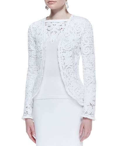 Embroidered Cotton Lace Jacket, White