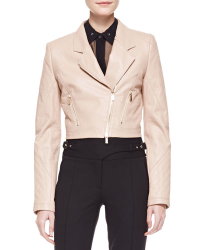 Cropped Leather Motorcycle Jacket, Nude