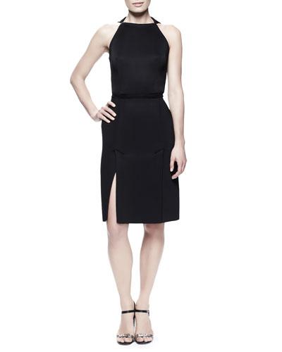 Kick-Pleat Sheath Dress, Black