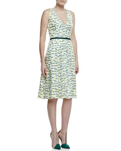 Crosshatch-Print Silk A-Line Dress, Green/Yellow