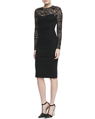 Lace-Long-Sleeve Dress, Black