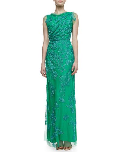 Beaded Draped Column Gown, Calypso Green