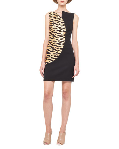 Gold-Wave Asymmetric Sheath Dress