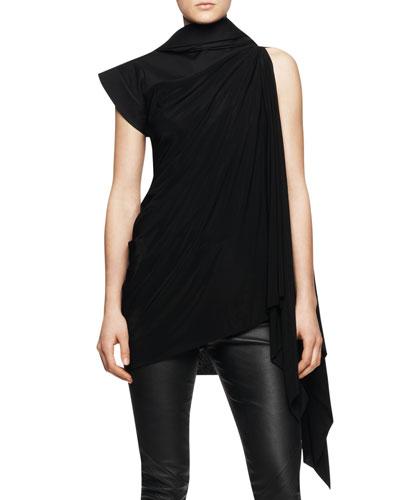 Sleeveless Long Tunic Toga with Hood, Black