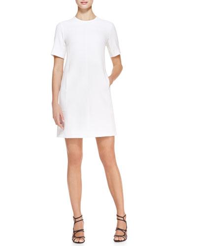 Short-Sleeve Seamed Tunic Dress, Ivory