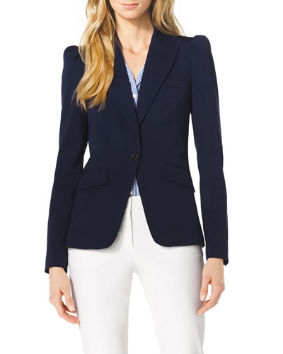 Puff-Shoulder Wool Blazer