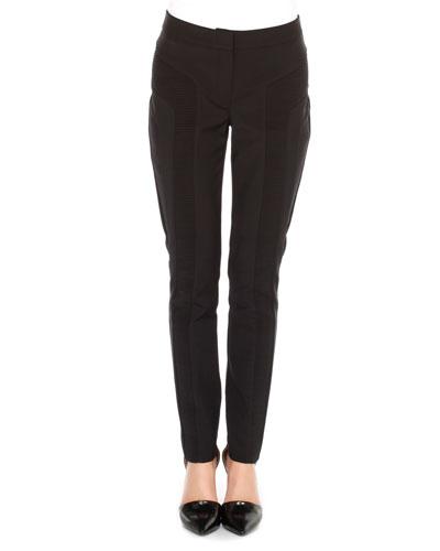 Ribbed-Panel Slim Pants
