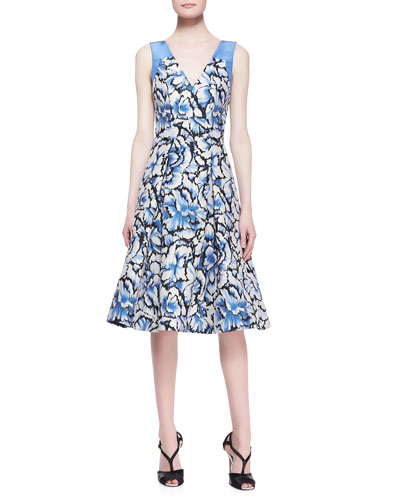 Sleeveless Feathered-Floral Dress