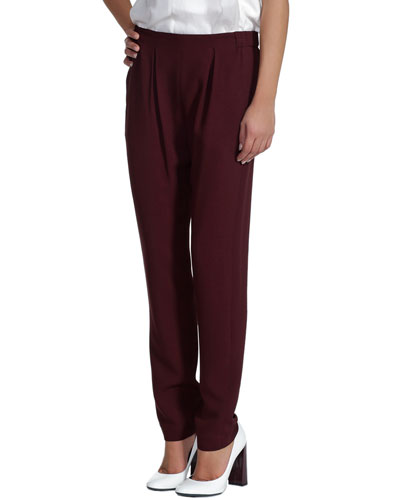 Pleated Cady Jogging Pants, Sable