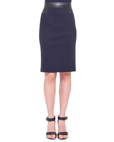 Waist-Trim Jersey Pencil Skirt