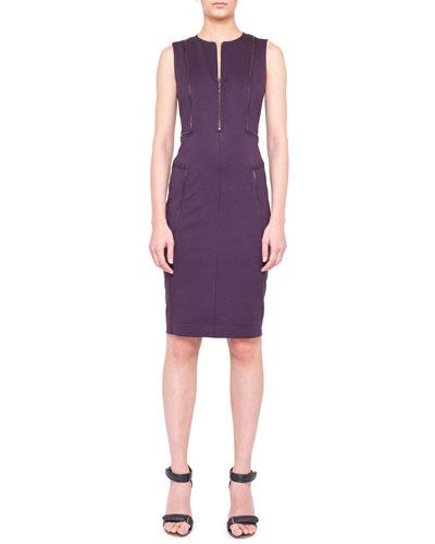 Sleeveless Zipper-Trim Jersey Dress