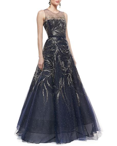 Oscar de la Renta Sleeveless Embellished Ball Gown