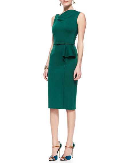Sheath Dress With Asymmetric Peplum Forest Green