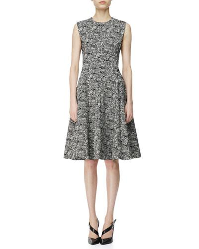 Digital-Print Cotton A-Line Dress