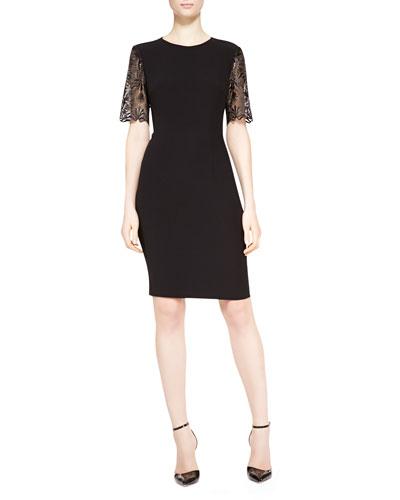 Lace-Sleeve Dress, Black