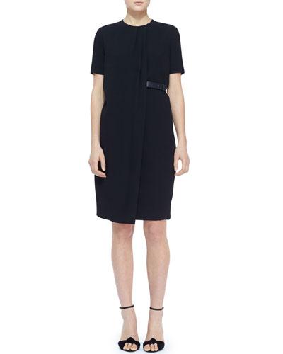 Short-Sleeve Side-Belt Shift Dress