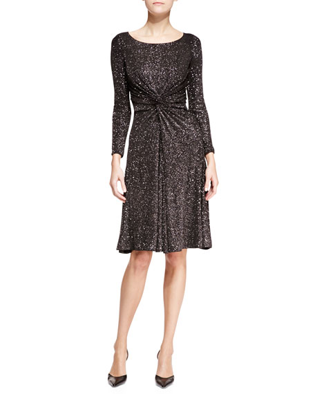 430ee9823829 Armani Collezioni Glitter-Jersey Scoop-Neck Long-Sleeve Dress