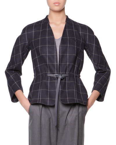 Raglan-Sleeve Windowpane Check Jacket, Navy