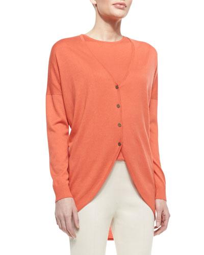 Fine Gauge Silk/Cashmere Blend V-Neck Trapeze Cardigan with Shirttail