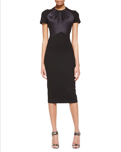 Short-Sleeve Satin & Jersey Fitted Dress, Black