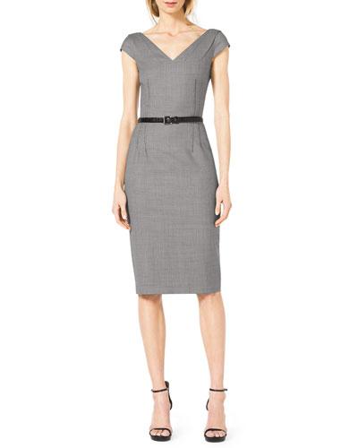 Houndstooth Belted V-Neck Suit Dress
