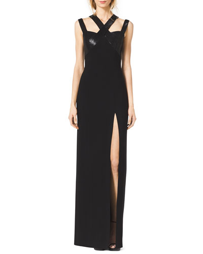 Sequined Cross-Neck Slit Gown