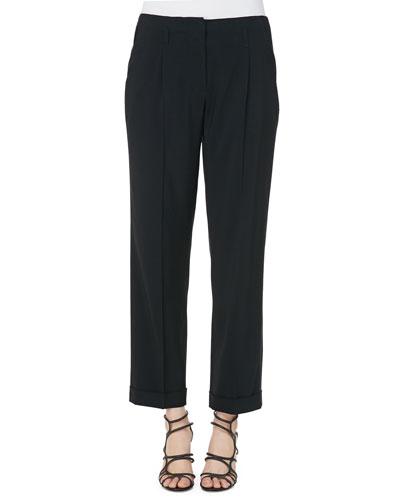 Solid Lightweight Cady High-Waist Pants, Black