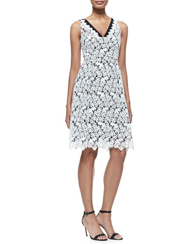 Elizabeth Sleeveless Floral Lace Dress, White