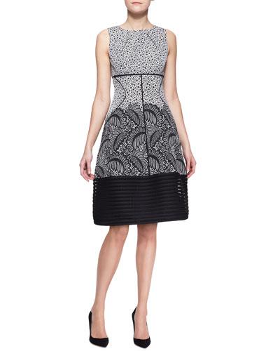 Mixed-Print Stripe-Hem Dress