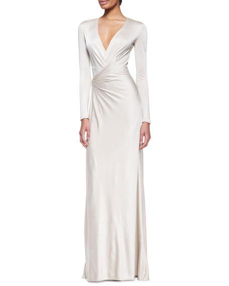 Miranda Jersey Evening Dress Wheat
