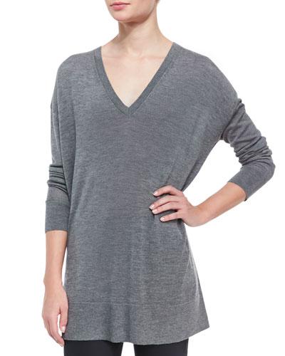 Long-Sleeve Oversized V-Neck Sweater, Gray