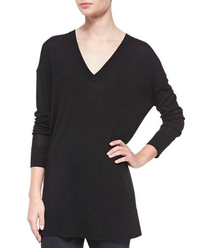 Long-Sleeve Oversized V-Neck Sweater, Black