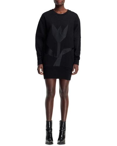 Long-Sleeve Tulip Sweatshirt Dress, Black