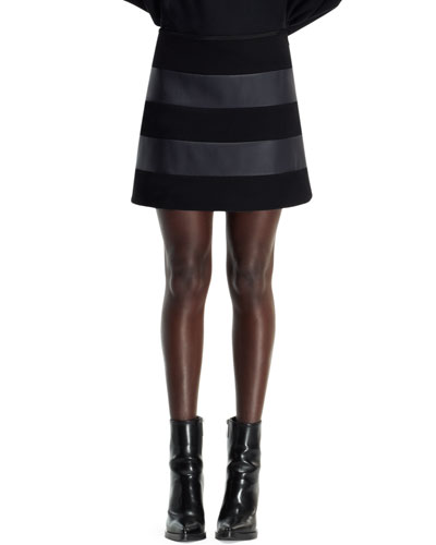 Wool & Faux-Leather Striped Skirt, Black