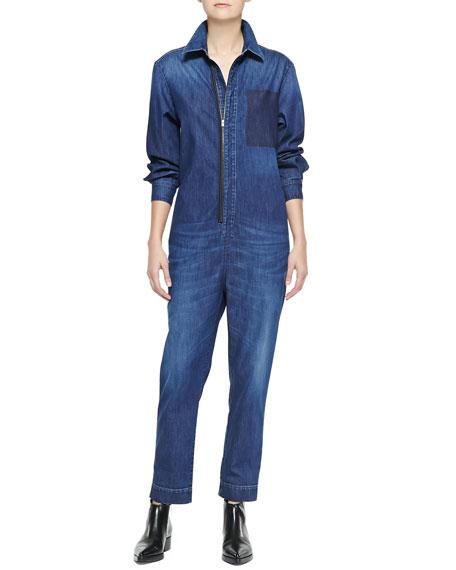 42118e4967bf Stella McCartney Kieran Zip-Front Denim Jumpsuit