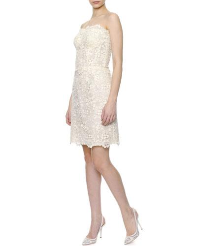 Strapless Macrame Lace Cocktail Dress, Ecru
