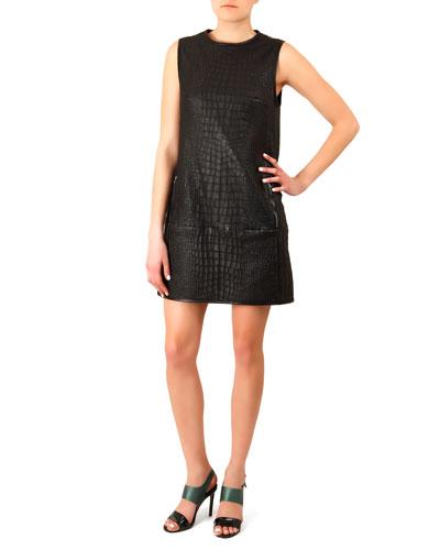 Crocodile-Embossed Leather Dress